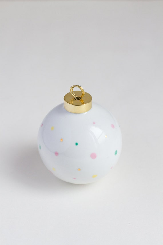 Christmas ball with pastel and gold dots