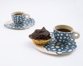 Ceramic stoneware cup saucer coffee tea espresso - unique handmade serving decorative textured kitchen pottery morning coffee - blue - imkadesign
