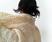Cream cable blanket, handknitting, pure wool - VeroGOBET