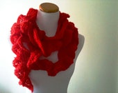 Red Lacy Ruffle Knit Scarf  in Red - Gift for Her - Romantic Style - Classic - Made to Order