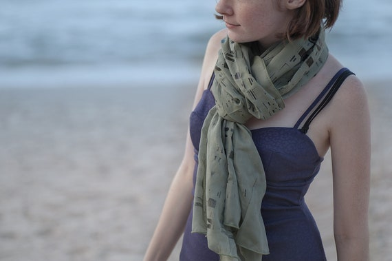 Classy Olive Green Sheer Voile Scarf, Black Screen Printed pattern. Winter Gift