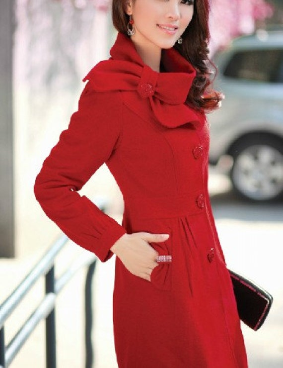 Red Single-breasted Winter Coat/Woman coat/ Woman Jacket/Tunic/ Long Jacket/Short Jacket/ Long Sleeves/Woman Tunic