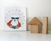 bear portrait no. 9 // super cub // tiny original illustration on canvas - mimiandlu