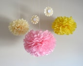 7 Pom Poms - Spring Pink Tissue Paper Pom Poms - More Colors Available - Pink and Yellow - Weddings - Birthday - Decorations - Baby Shower - PrettywithSprinkles