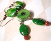 Fallen Forests - Green Stone, Glass and Shell Dangle Earrings