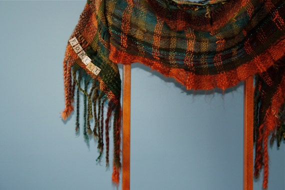 Forest, a Short Wrap in browns and greens