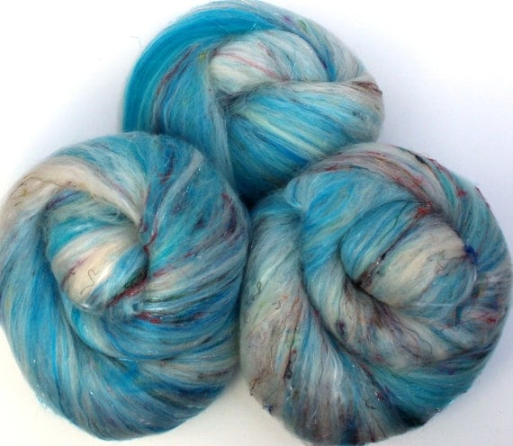 Time Lord batts -- (5 oz. per set)  merino, silk, tencel, bamboo, sari silk, sparkle.