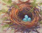 Robin's Nest with Eggs Original Pastel Painting 11x14 by Karen Margulis psa - KarenMargulisFineArt
