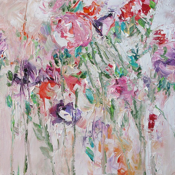 Floral Landscape Original Painting Abstract or Impressionist Art Fauve Flowers Acrylic Painting on Canvas by Linda Monfort