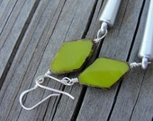 Avocado Green Czech Glass Beads Matte Silver Spike Earrings Punk SydneyAustinDesigns