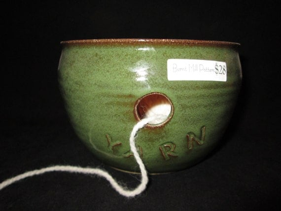 yarn bowl in olive green, stoneware, knitting, crochet, pottery