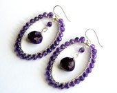 Purple Hoop Earrings, Wire Wrapped Oval Hoops, Grape Gemstone Teardrops, Sterling Silver