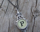 Letter P  Vintage Typewriter Key  Drop Necklace - KeysAndMemories