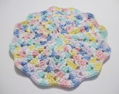 Pastel Colored Crocheted Round Shell Stitch Dish Cloth