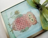 Original Art 3x3 Glass Bevel, Owl with Flower - digiliodesigns