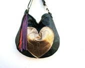 Valentine Agatha// in Forest Green Leather with Metallic Gold Heart Pocket and Two Way Strap - arebycdesign