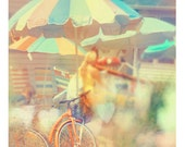 Beach Photograph, Seaside Town, 8x8 Print, Summer Decor, Umbrella, Bicycle, Orange Pastel Color, Cottage Decor, Oceanside, Boardwalk