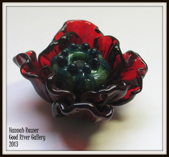 Red Raspberry Lampwork Glass Bead