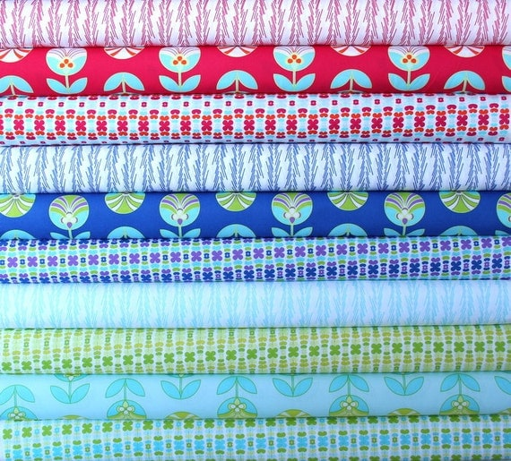 Color Me Retro fat quarter bundle--10 pieces---2-1/2 yards total--Jeni Baker for Art Gallery Fabrics