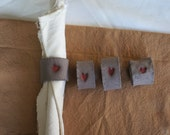 Set of Minimalistic ceramic rustic napkin ring with a red heart - Florcita