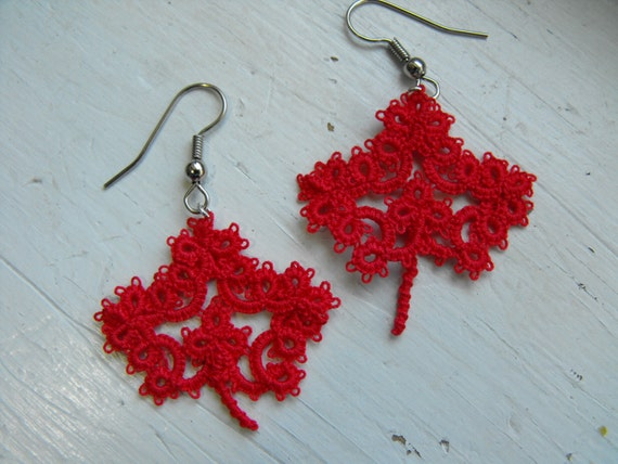 O Canada  Tatted earring tribute to our national symbol The Maple Leaf for this coming Canada Day celebration.