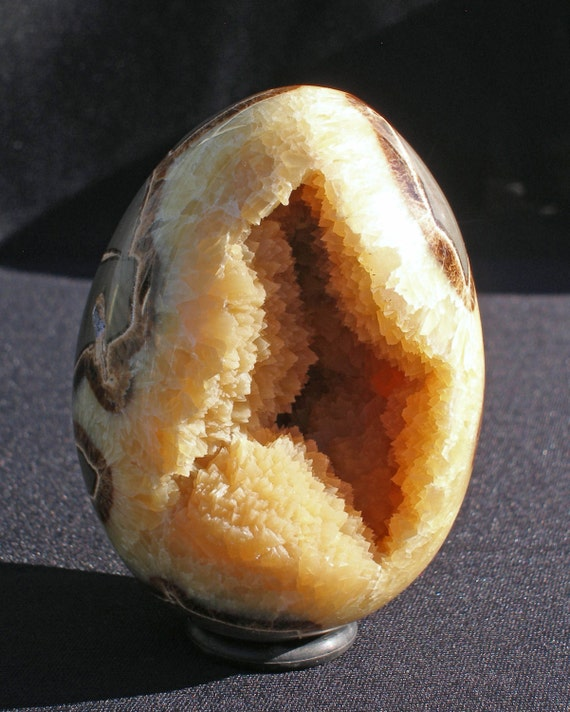 Large Hollow Septarian Stone Hand Carved Egg Yellow Calcite Crystals with Beautiful Abstract Matrix SE-12