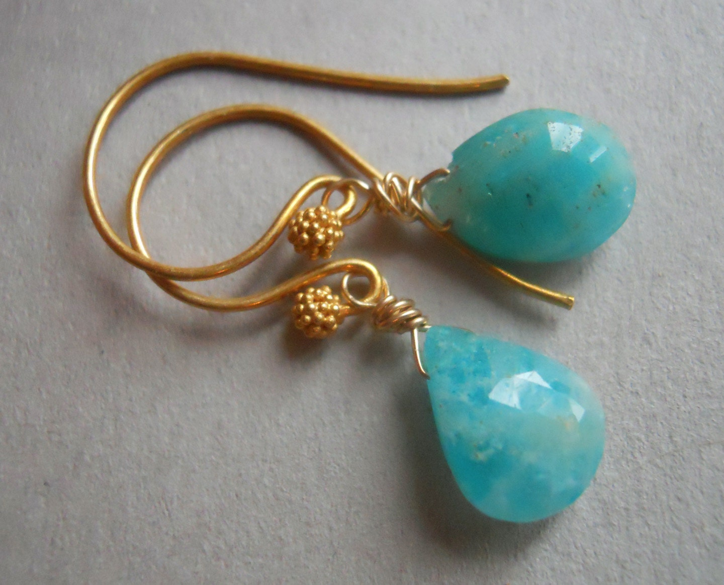 Stunning Amazonite Pear earrings - $33.00 USD