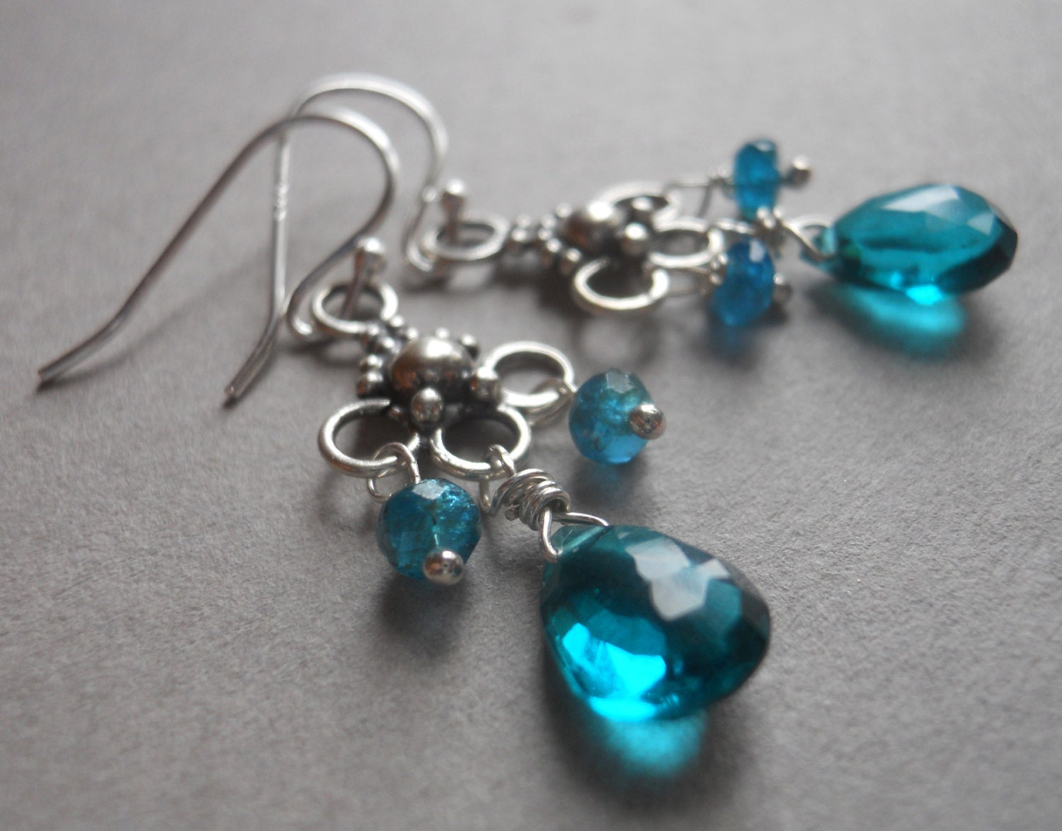 Mini chandeliers in teal quartz and apatite - $42.00 USD