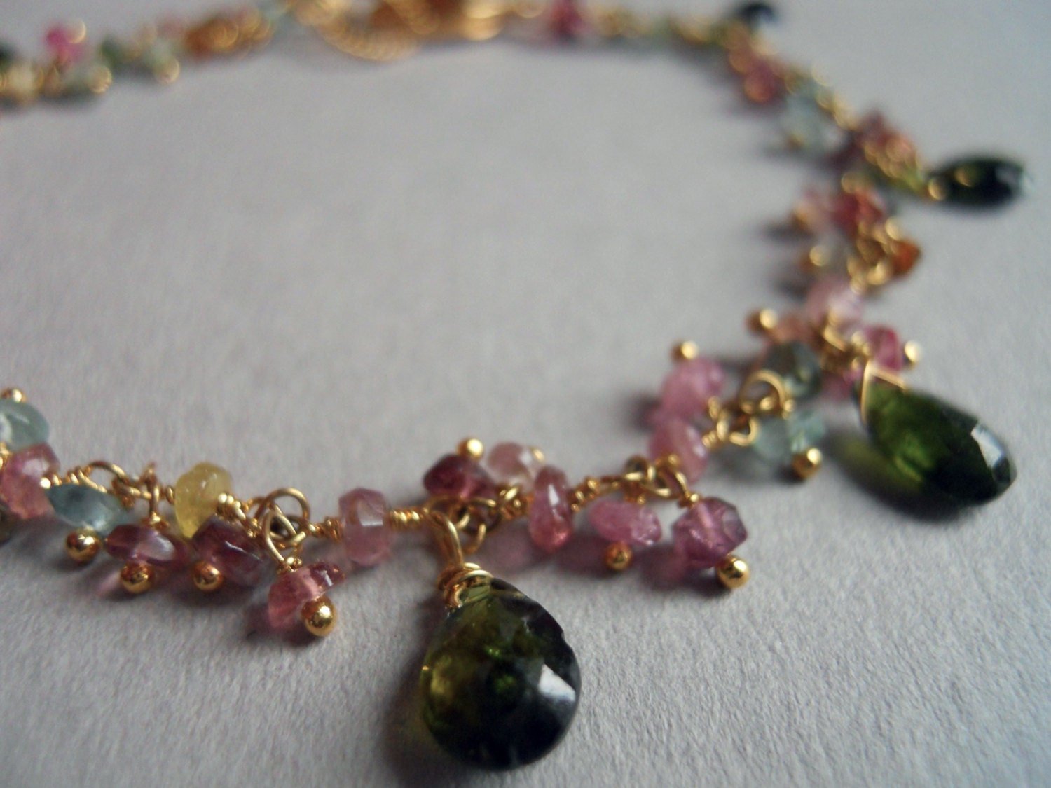 Green Day Multi-Colored faceted gemstone and green garnet bracelet - $75.00 USD
