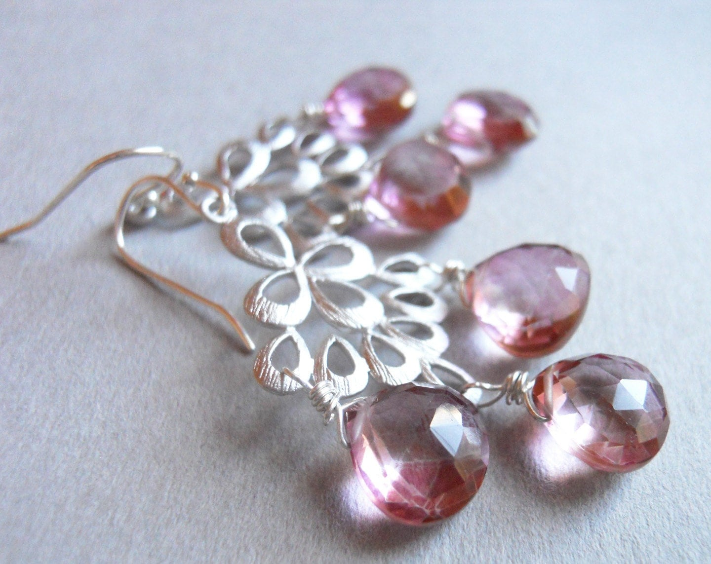 Mystic Pink Quartz Matte Silver Chandelier Earrings / Orient Collection - $75.00 USD