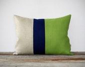 Color Block Stripe Pillow in Lime Green, Navy and Natural Linen by JillianReneDecor Summer Home Decor - Decorative Pillow - Tender Shoots - JillianReneDecor