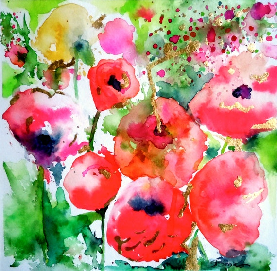 Poppy Abstract Print, Pink, Coral Poppies Impression, Poppy Wall Art, Framed Art, Wall Decor, 14x14