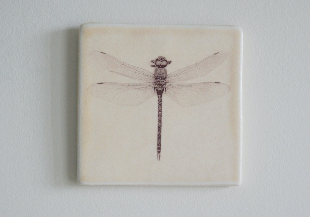 Dragonfly Porcelain Wall Tile Home Decor by jansonpottery on Etsy