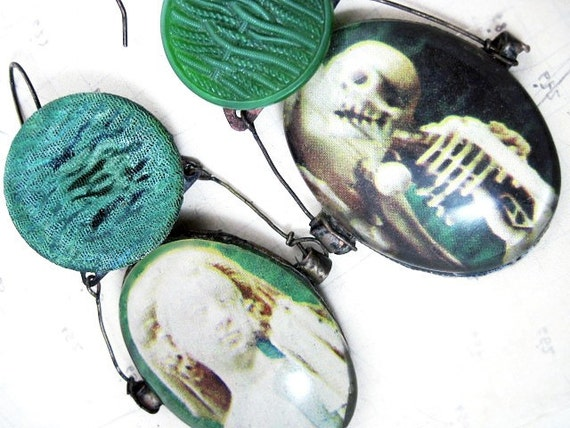 Free Shipping Sale. Ask All. Rustic Green Cabochon Earrings with vintage buttons.