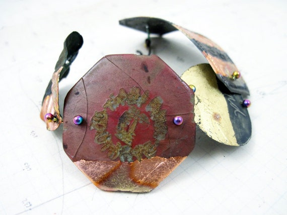 Your Own Myth. Cosmic Gypsy Iridescent Assemblage Bracelet Cuff with gold leaf, vintage antique found objects.