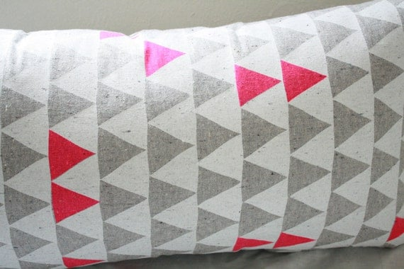 "Mountains of Montana - neon pink and grey triangle pattern organic pillow, hand printed, 14"" x 24"""
