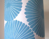 Handprinted Modern Blue Lamp Shade-linen handprinted lampshade - Jeannemcgee