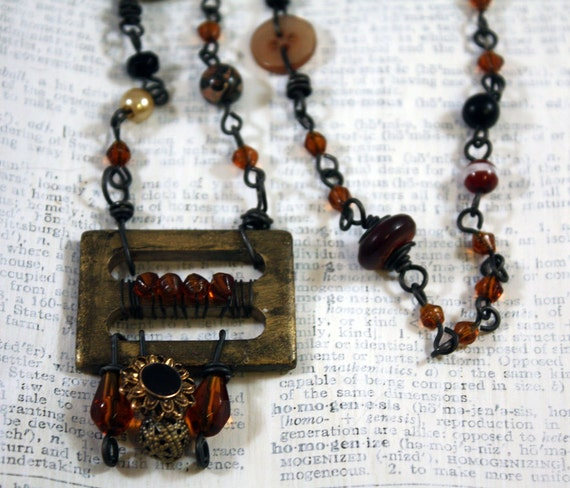 Amber Waves Necklace - Assemblage, mixed media, tribal