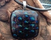 Fused Glass Pendant on Leather Cord Necklace