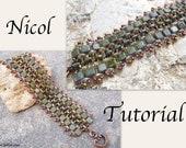 Tutorial Nicol SuperDuo and Tile Beadwork Bracelet PDF