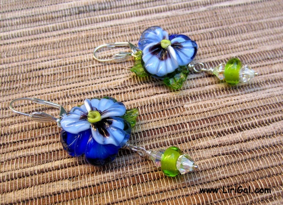 Pansy lampwork sterling silver earrings
