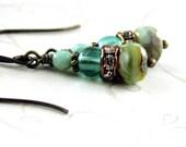 Czech Aqua Mint Earrings Czech Opaque Olive Picasso Beads, Rhinestones Antique Vintaj Brass Earrings - NickiLynnJewelry