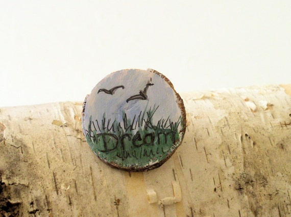 Dream Wooden Pin Brooch Hand Painted Whimsical Landscape Made from Natural Wood
