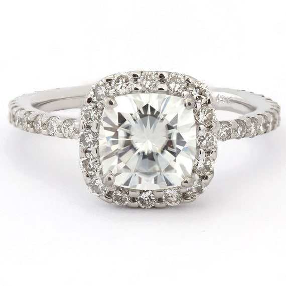 6.5mm cushion cut moissanite and diamonds Harry Winston inspired engagement ring