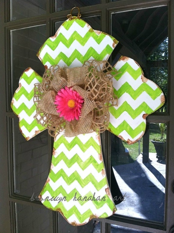 Lime Chevron Cross Door Hanger - Bronwyn Hanahan Art