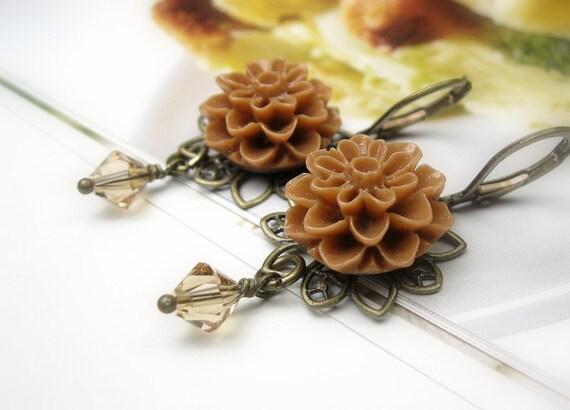 Tan Caramel Victorian Style Flower Earrings, Dangle Earrings, Swarovski Crystals, Lucite Cabochons, Tan Flower Earrings, Soft and Feminine