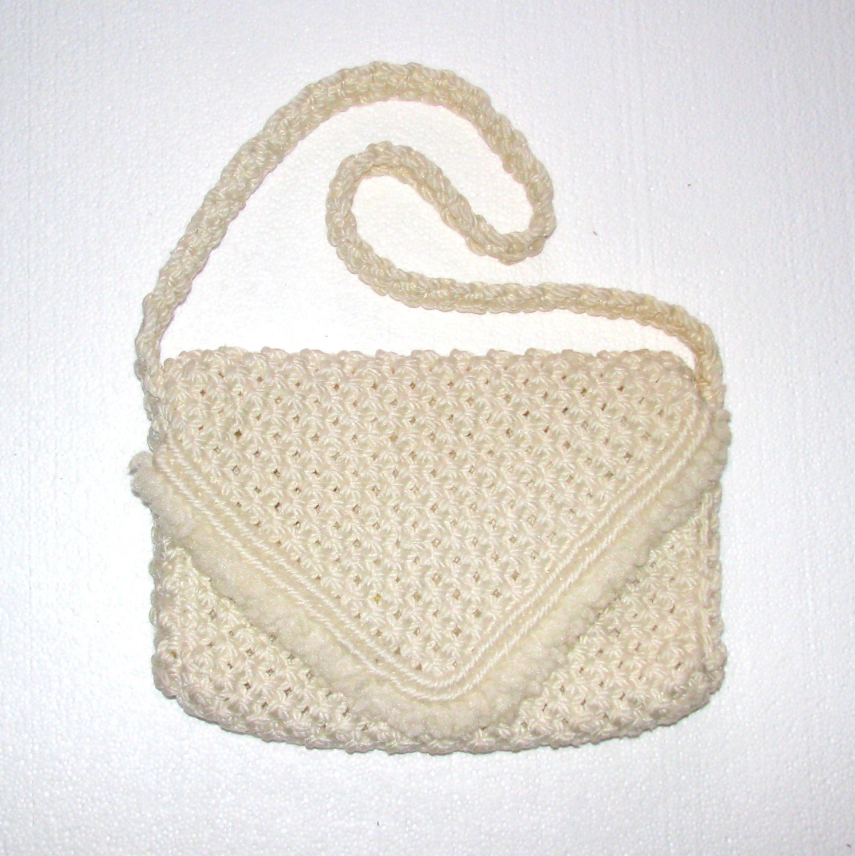 Vintage Crochet Bag : Vintage 70s Macrame Purse / Crochet Purse / Ivory Purse / Shoulder Bag ...