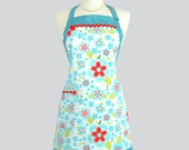 Reversible Chef Apron . Womens Kitchen Cooking Apron in Teal and Red Floral Adjustable Neck Towel Ring and Pockets - CreativeChics