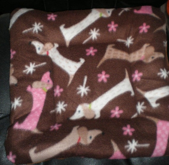 Dachshund Doxie Print Tufted Quilted Dog Bed