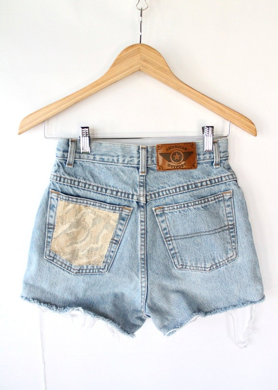 Vintage 80s High Waisted Light Denim Cut Off Shorts // Woven Pocket Patch XS